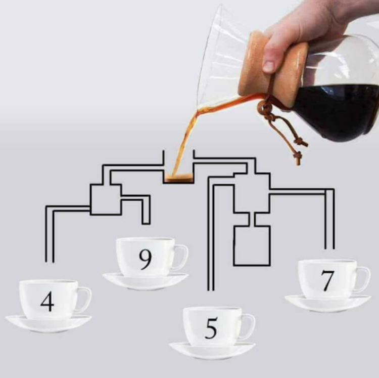 Which coffee cup will fill first? Image Courtesy: Herbueautyxo/Twitter