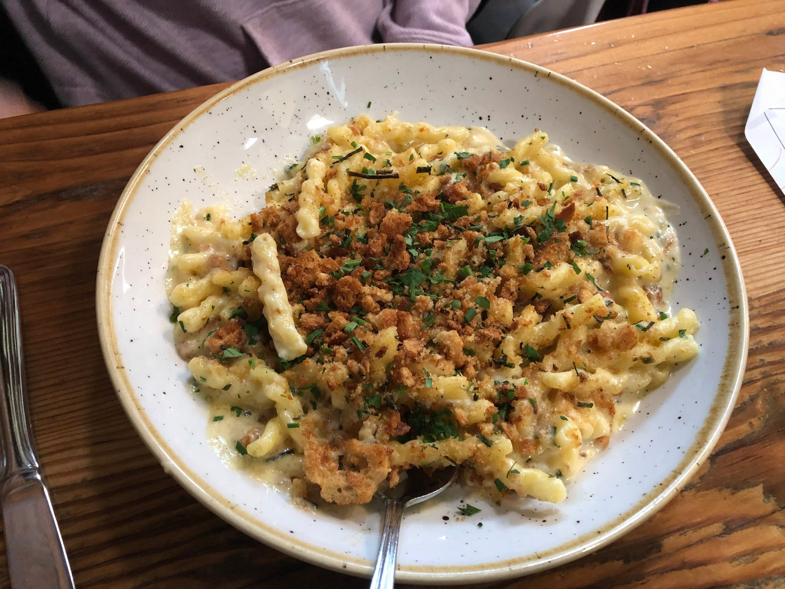 The Smoky Mac n' Cheese at Pfriem in Hood River has to be top 10 in the world. Serious. Here is the menu description: gemelli pasta, three-cheese sauce, garlic breadcrumbs, fresh herbs - 11; add bacon lardons - 3; add bratwurst - 5. Image Courtesy: Dan Meyers