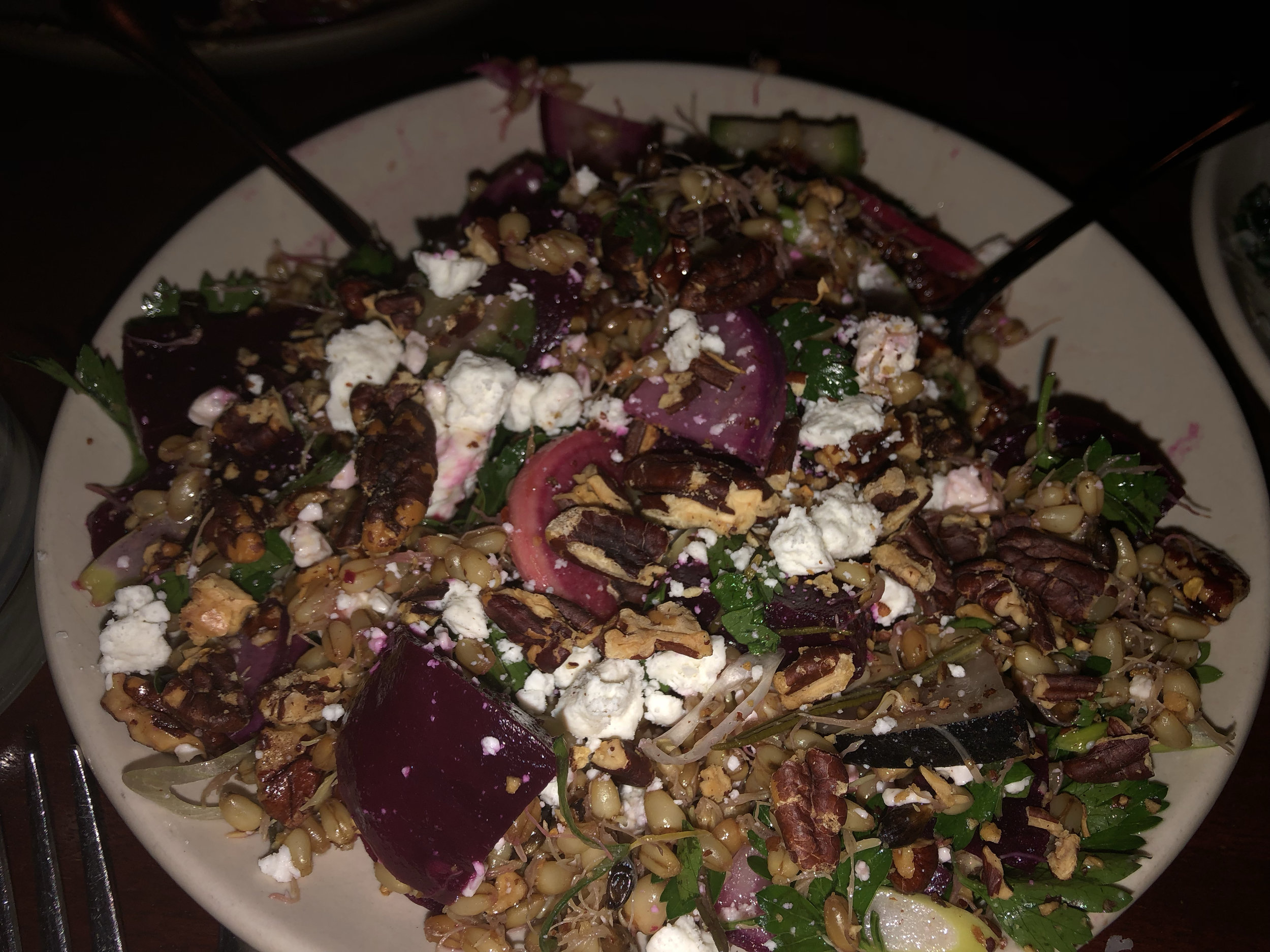 The second appetizer we had in the run-up to our entrees was this truly unique and savory salad. Listed under Gardina as: Beets, Barley, Winter Radishes, Feta, Pecans…this salad went very well with the garlic bread. Image Courtesy: Dan Meyers