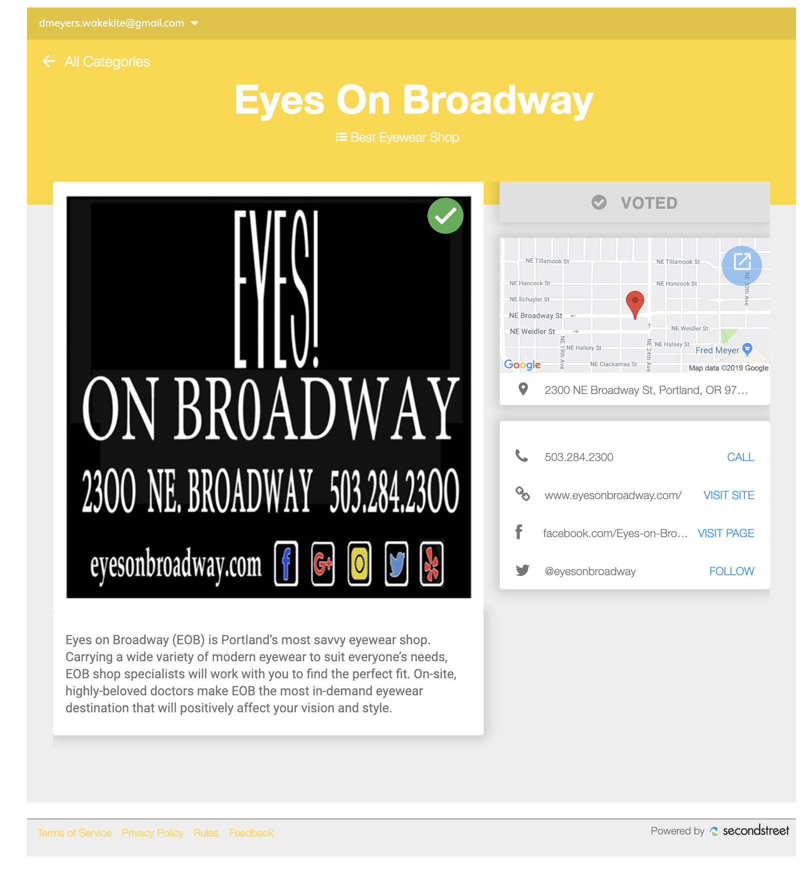 You will see this voting page when you click the above or below VOTE HERE button. The green check mark shows that I already voted for  Eyes on Broadway . Image Courtesy: Willamette Weekly's website