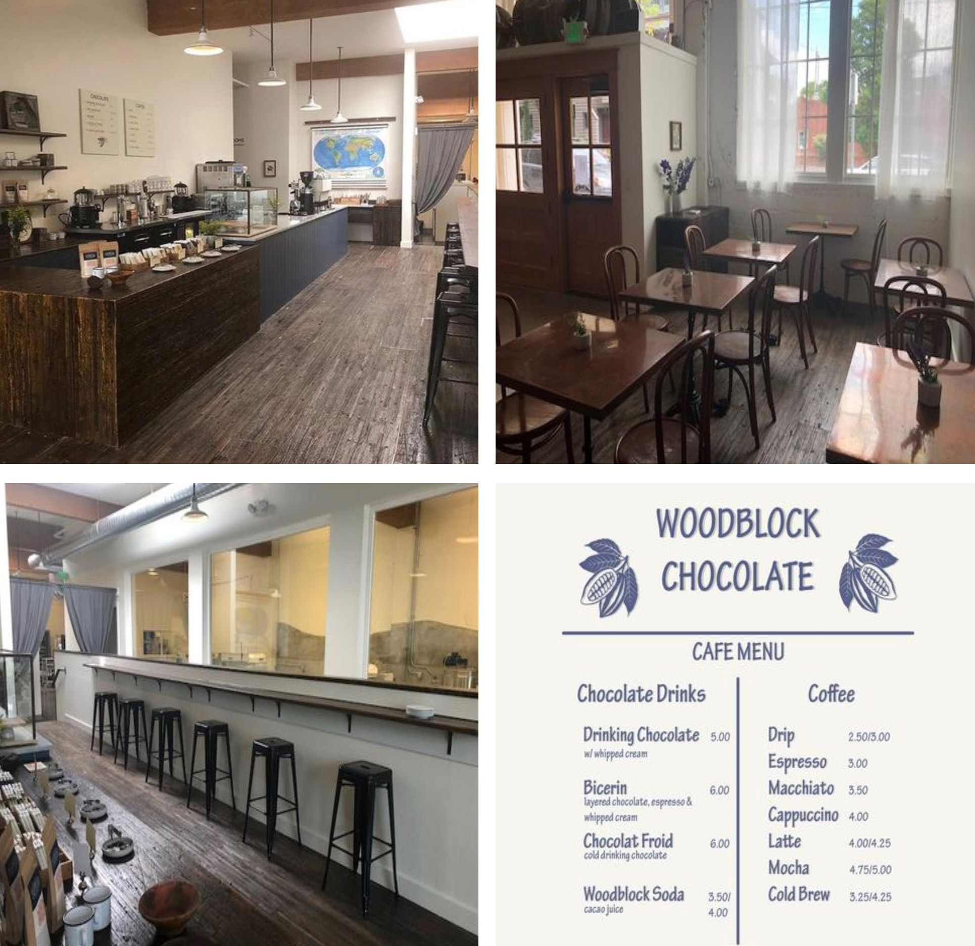 One of the neat things that separates Woodblock Chocolate from other specialty shops is its cafe. Indeed, there's plenty of seating available to come in an enjoy truly incredible chocolate drinks and coffee. Even a cacao juice cola is available! Super cool. Images Courtesy: woodblockchocolate.com