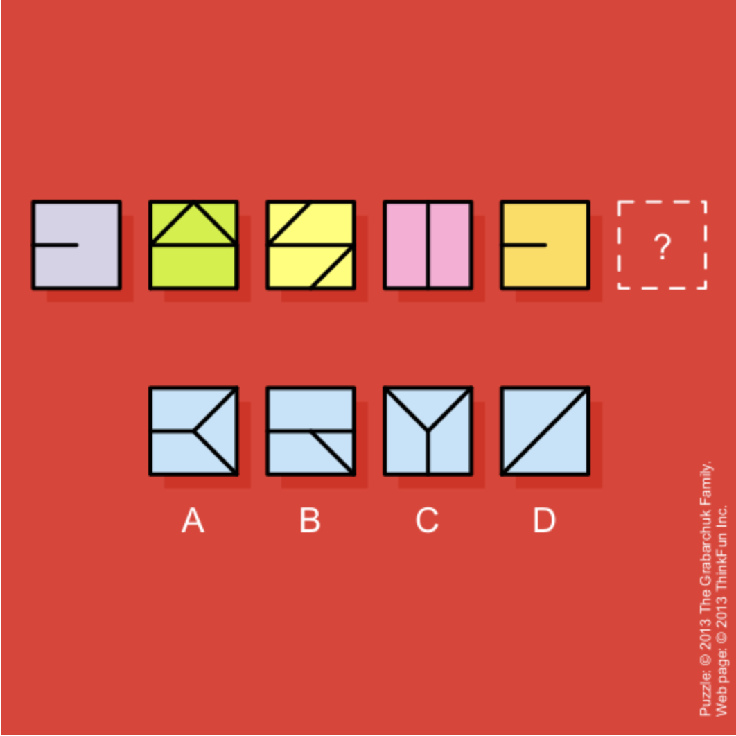 Which square (A, B, C or D) fits the 6th square (shown as a ? mark). Image Courtesy: Puzzles.com
