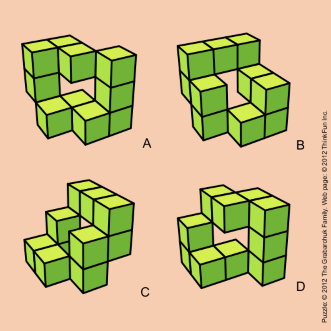 Which cube configuration is WRONG? Image Courtesy: puzzles.com