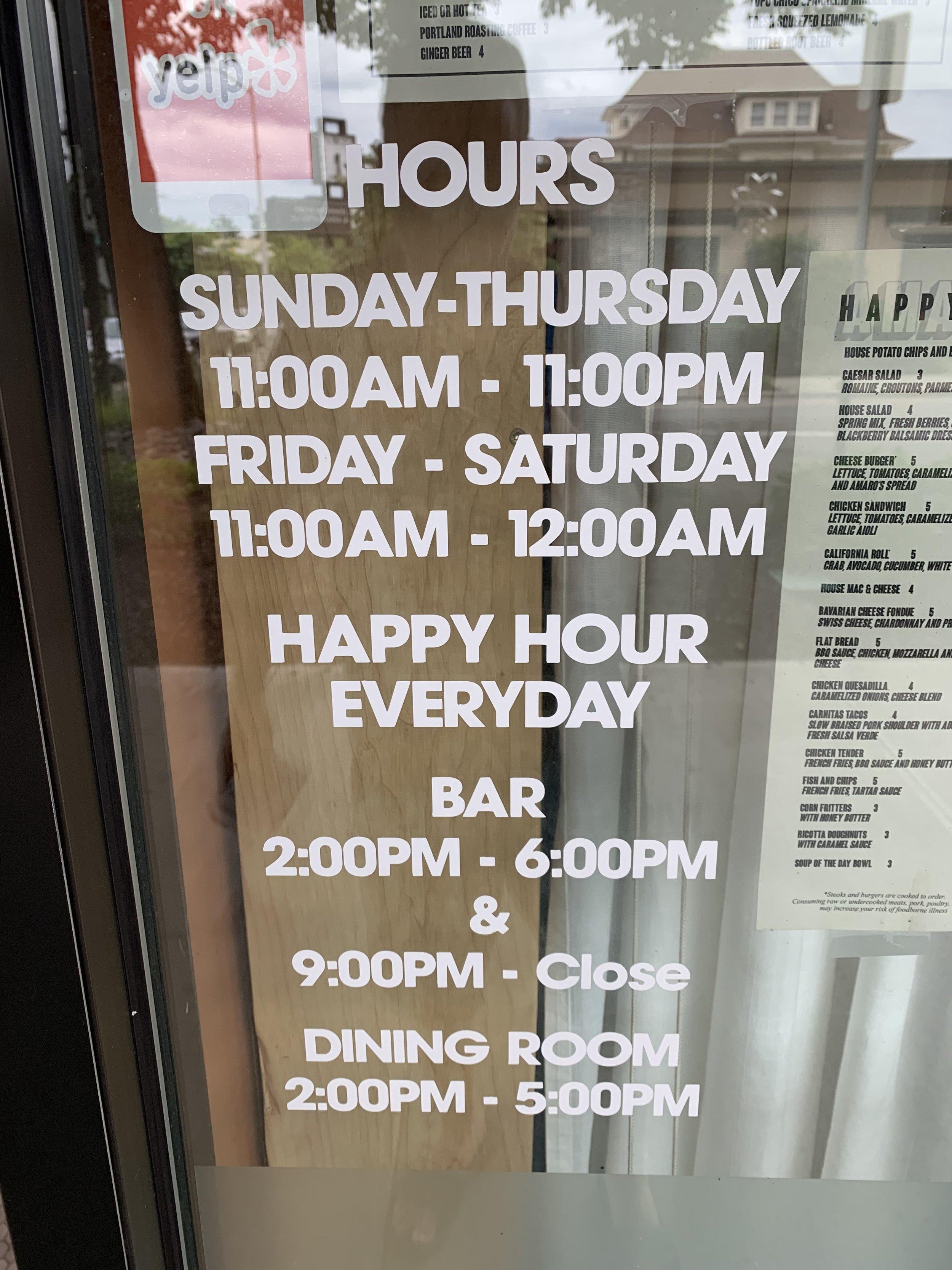 Amaro's hours of operation. Image Courtesy: Dan Meyers