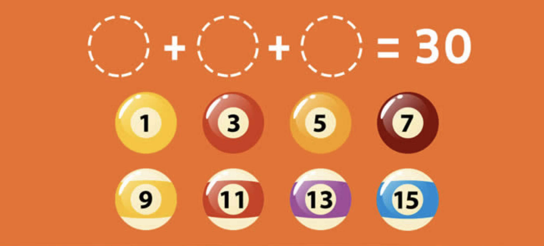 What ball combination can be placed in the dotted line circles to make 30? Image Courtesy: mentalup.co