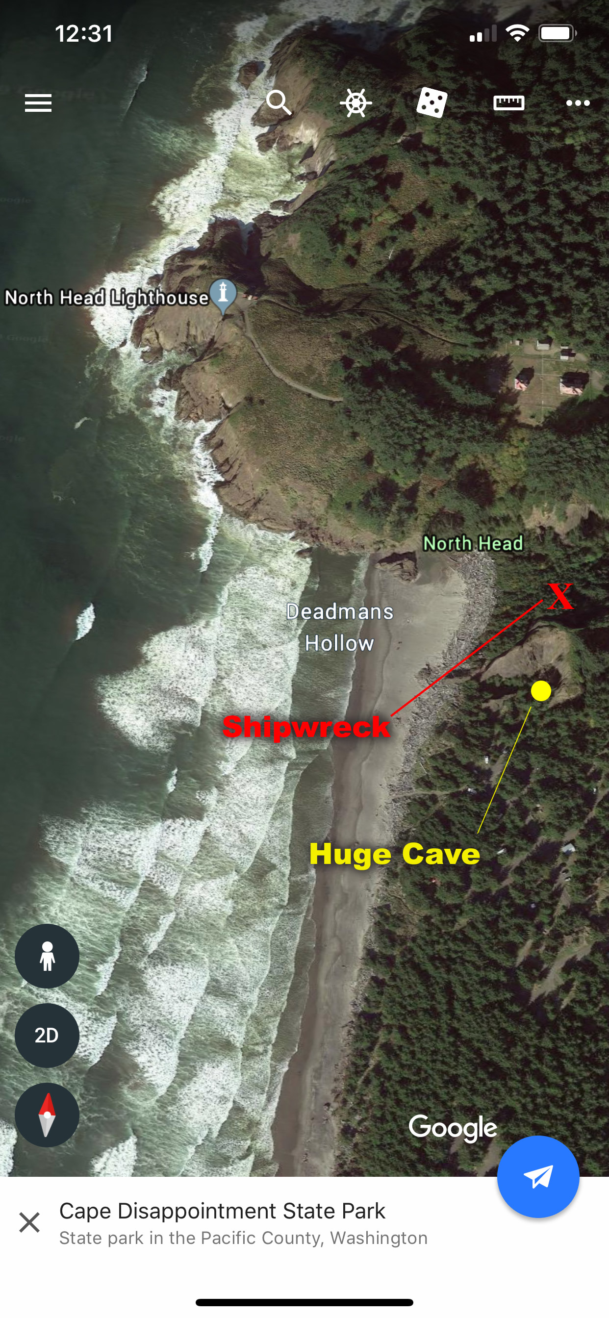 Here is a real-life treasure map (of sorts). A real shipwreck lies hidden in the woods above Deadman's Hollow at Cape Disappointment. There are also several caves, including one you could fit a semi into! Image Courtesy: Google Earth (and labeled in Photoshop by Dan Meyers)