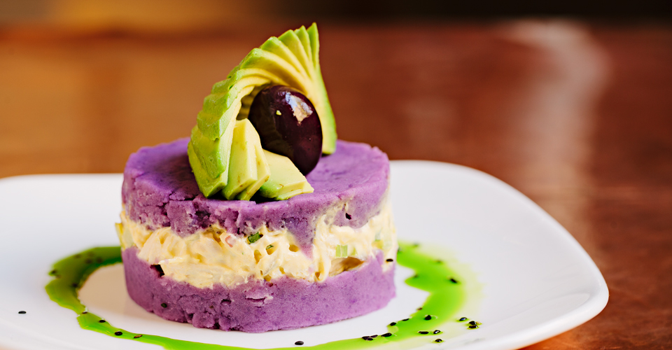 Another one of my very favorite tapas at Andina, the Morada. This dish is described on the menu as: MORADA Peruvian purple potato with shredded chicken breast with ají amarillo purée 10.5 - Image Courtesy: Andina.com