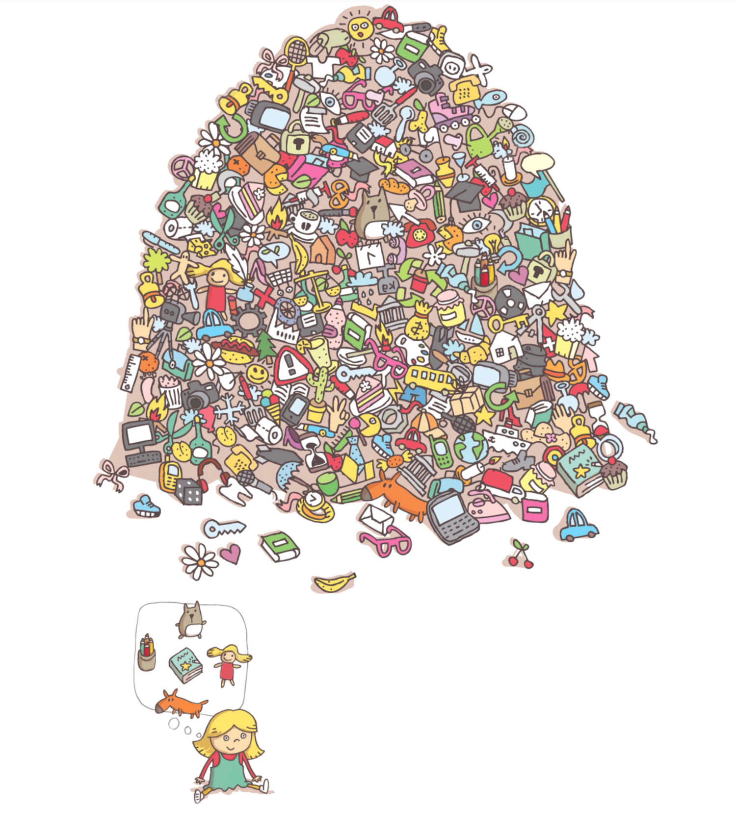 Find the five hidden objects shown in the little girl's bubble.