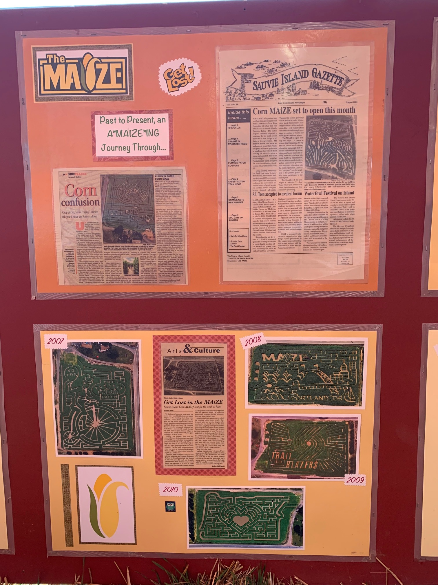 Some of the newspaper coverage and past corn maze designs. Perhaps you can find a maze you did here in years past? Image Courtesy: Dan Meyers