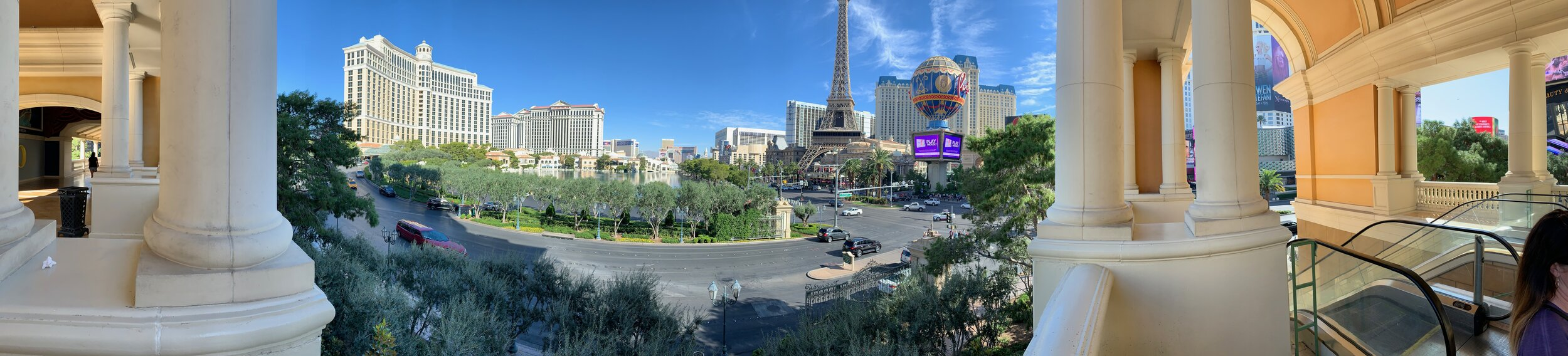 A panoramic shot from the east end of Caesar's Palace, Las Vegas, NV. So much fun! Image Courtesy: Dan Meyers