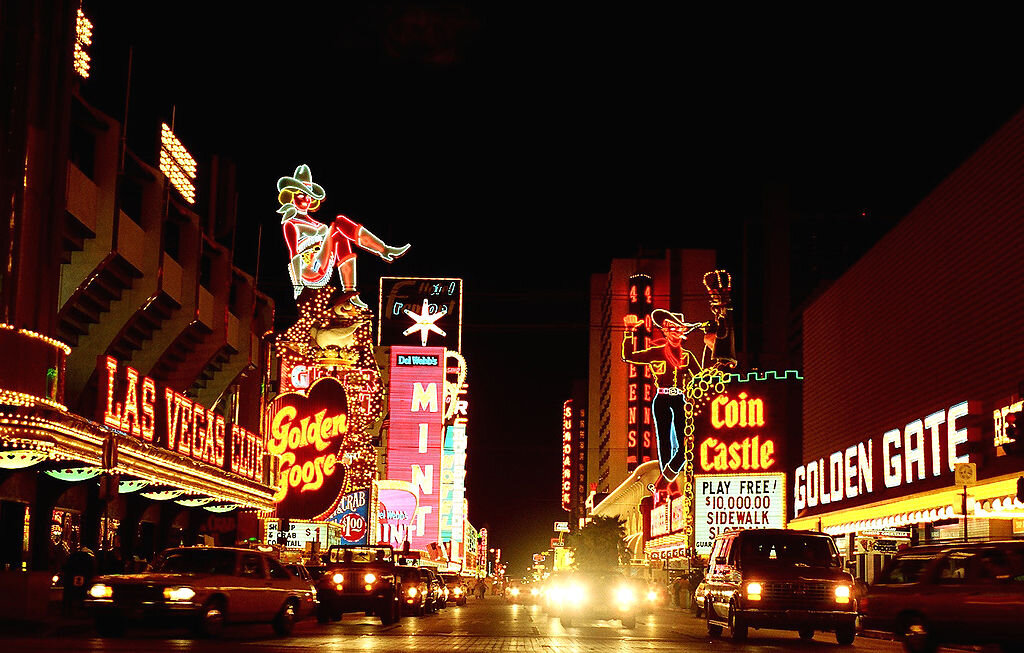 """""""Old Vegas,"""" as it's known, is my favorite part of town. The number of neon lights is astounding. Image Courtesy: Vegas Wineaux"""