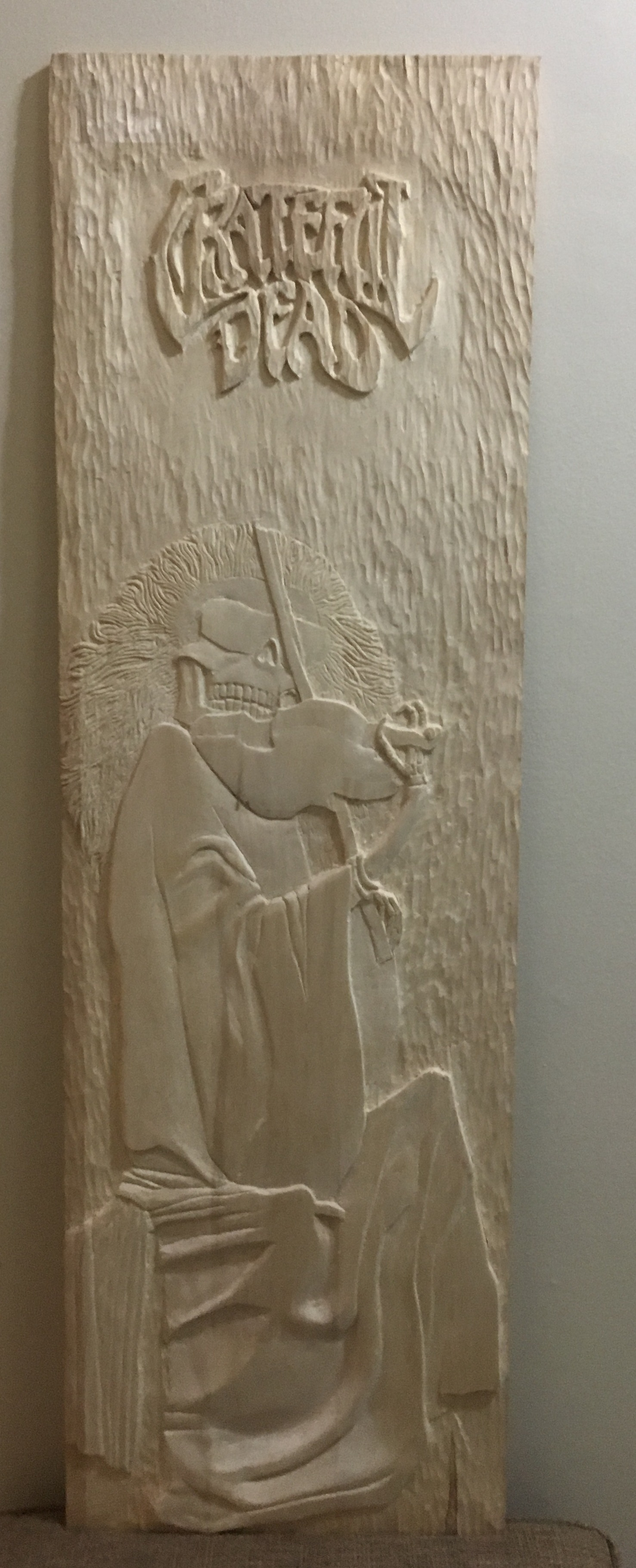This is a carving I did from a Grateful Dead album cover.It was about 4ft by 1 1/2ft