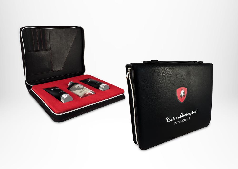 Tonino Lamborghini INVINCIBILE Folio Set Edt 125ml / 4.2 fl.oz. + Shower Gel 150ml / 5 fl.oz.+ After Shave Balm 150 ML / 5.0 fl.oz.