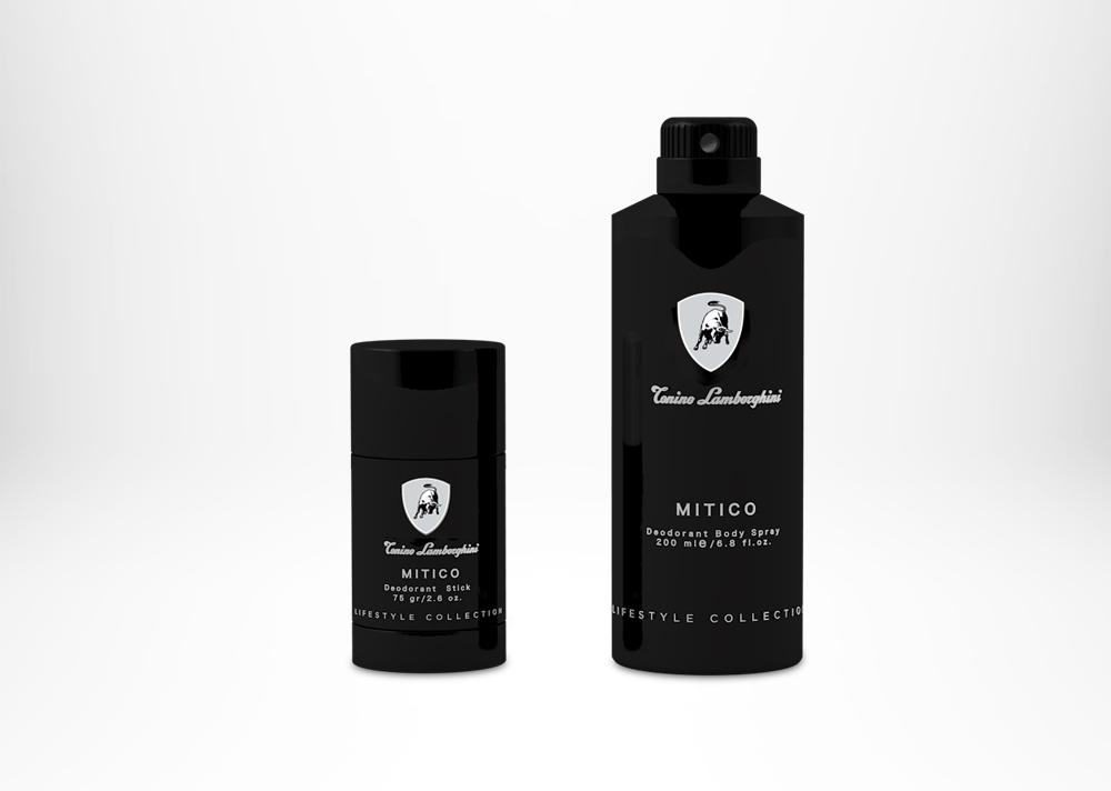 Tonino Lamborghini MITICO Deodorant Stick 75 gr / 2.6 fl. oz.  Tonino Lamborghini MITICO Deodorant Body Spray 200 ml / 6.8 fl. oz.