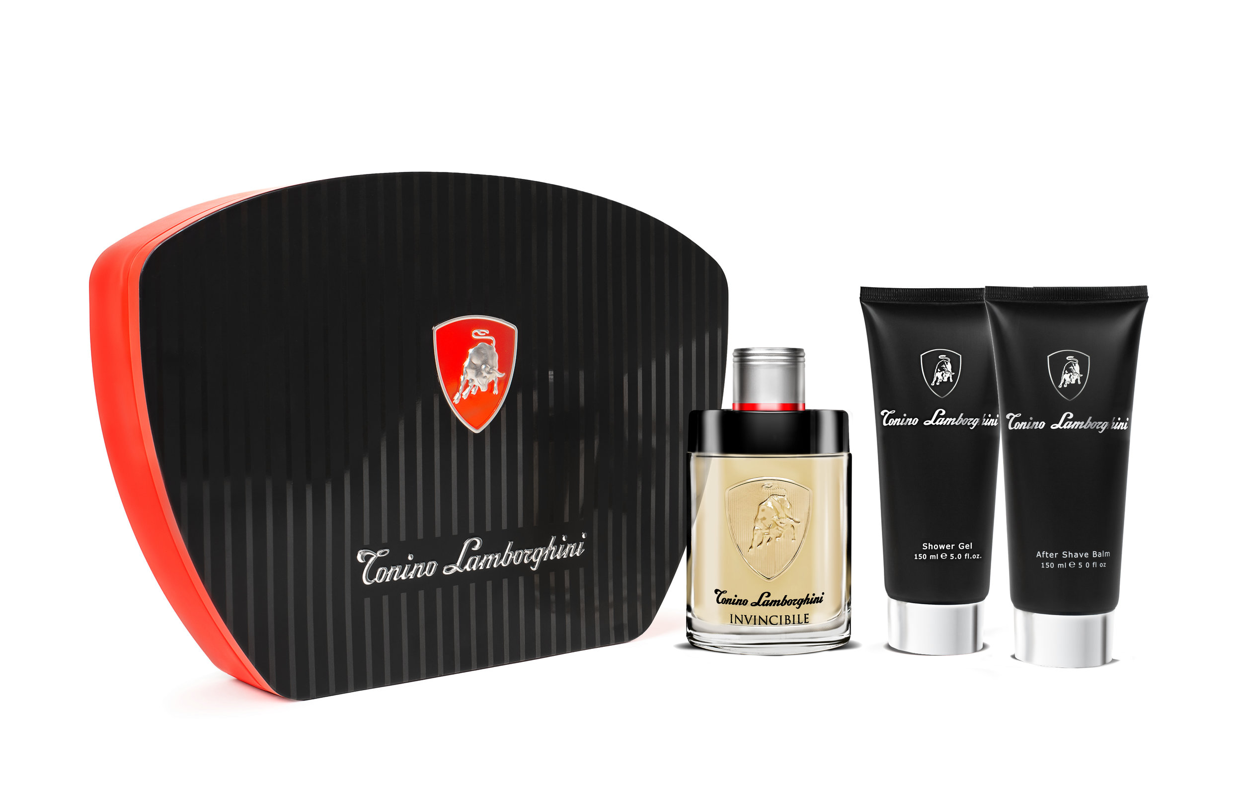 Tonino Lamborghini INVINCIBILE TIN Gift Set Edt 125ml / 4.2 fl. oz. + Shower Gel 150ml /5.0 fl.oz. + After Shave Balm 150ML / 5.0 fl. oz.