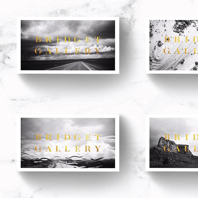 Some brand collateral pieces for Bridget Gallery Photography. #design #graphicdesign #logo #logodesign #branding #brandingphotography #businesscards #logostamp #classy #gold #printedmatter #blackandgold #foilstamping