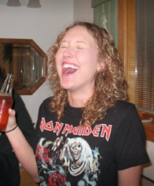 Me, in high school; drinking cream soda.