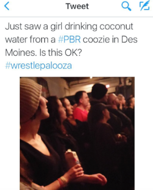 Tweet about me at wrestlepalooza, 2016. my q-life.