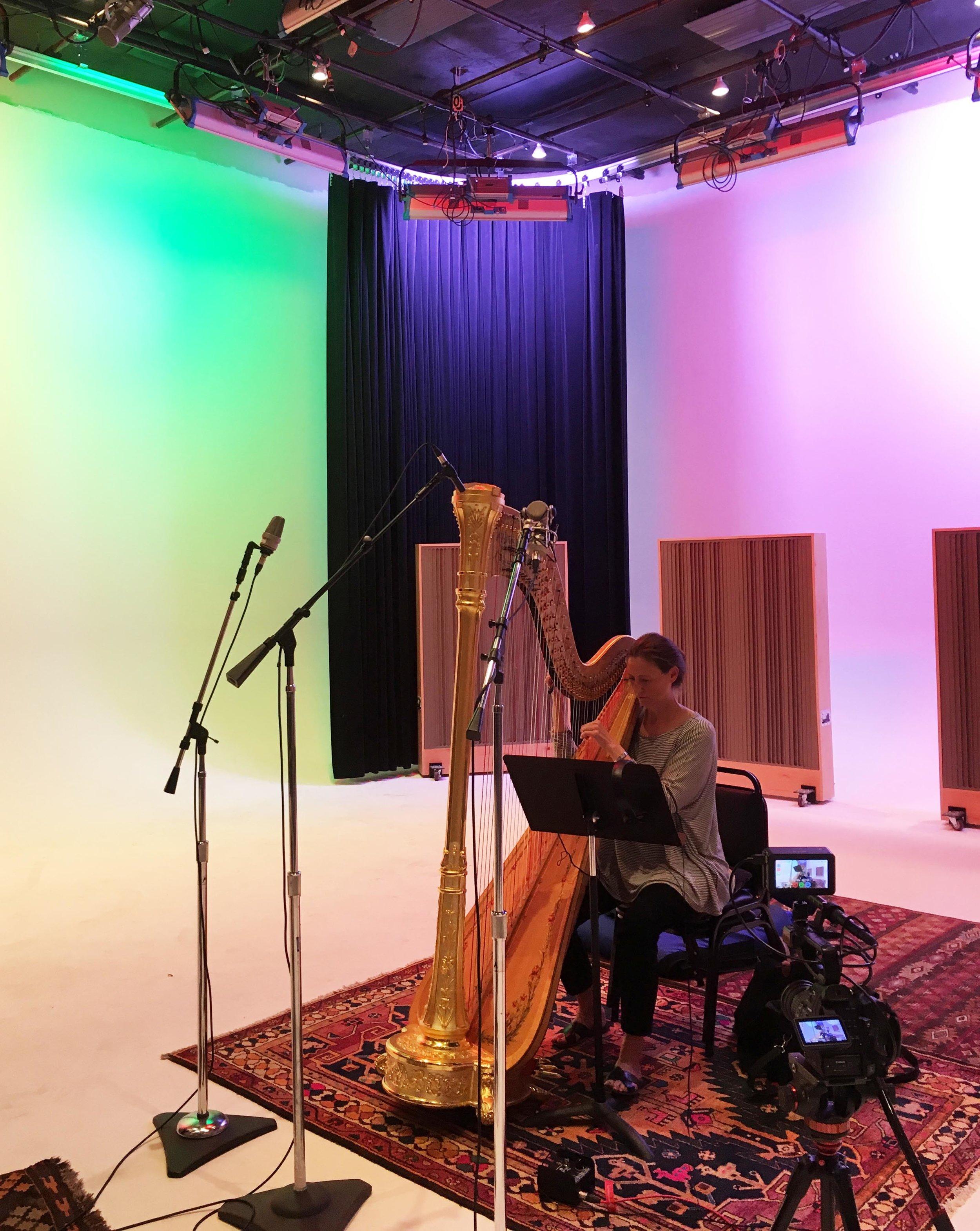 Jeannine Goeckeritz – Come Dream With Me Album – Recording Session – HUGEsound Post Production - Lysa Rytting - Harp.jpg
