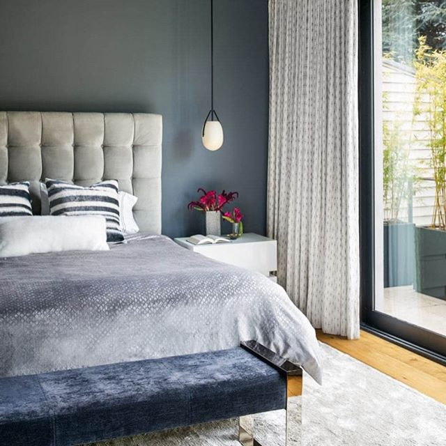 Loving this beautiful bedroom designed by @niche_interiors. The dark, cool colors and lush textures give this room a calm, relaxing vibe. Wonderful space!  #interiordesign #interiordesigninspiration #interiordesigninspo #interiorinspiration #interiorinspo #design #designinspiration #designinspo #bedroomdesign #bedroominspiration #bedroominspo