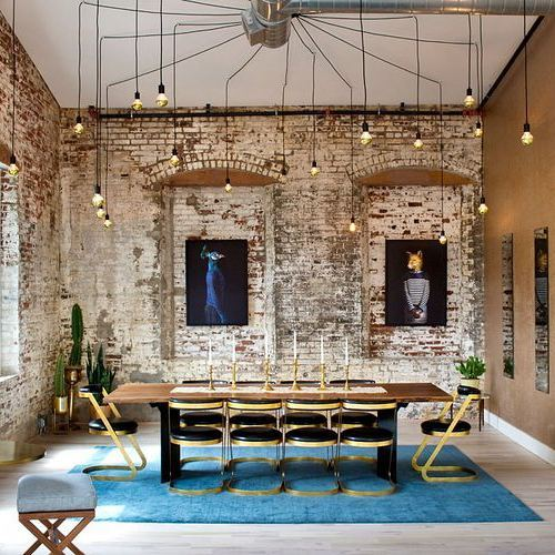 This dining room designed by @grisorodesigns is amazing! I adore the black and gold dining chairs and that chandelier is absolutely stunning. Pair that with exposed brick walls and you've got an incredible space!  #interiordesign #interiordesigninspiration #interiordesigninspo #interiorinspiration #interiorinspo #design #designinspiration #designinspo #diningroomdesign #diningroominspiration #diningroominspo