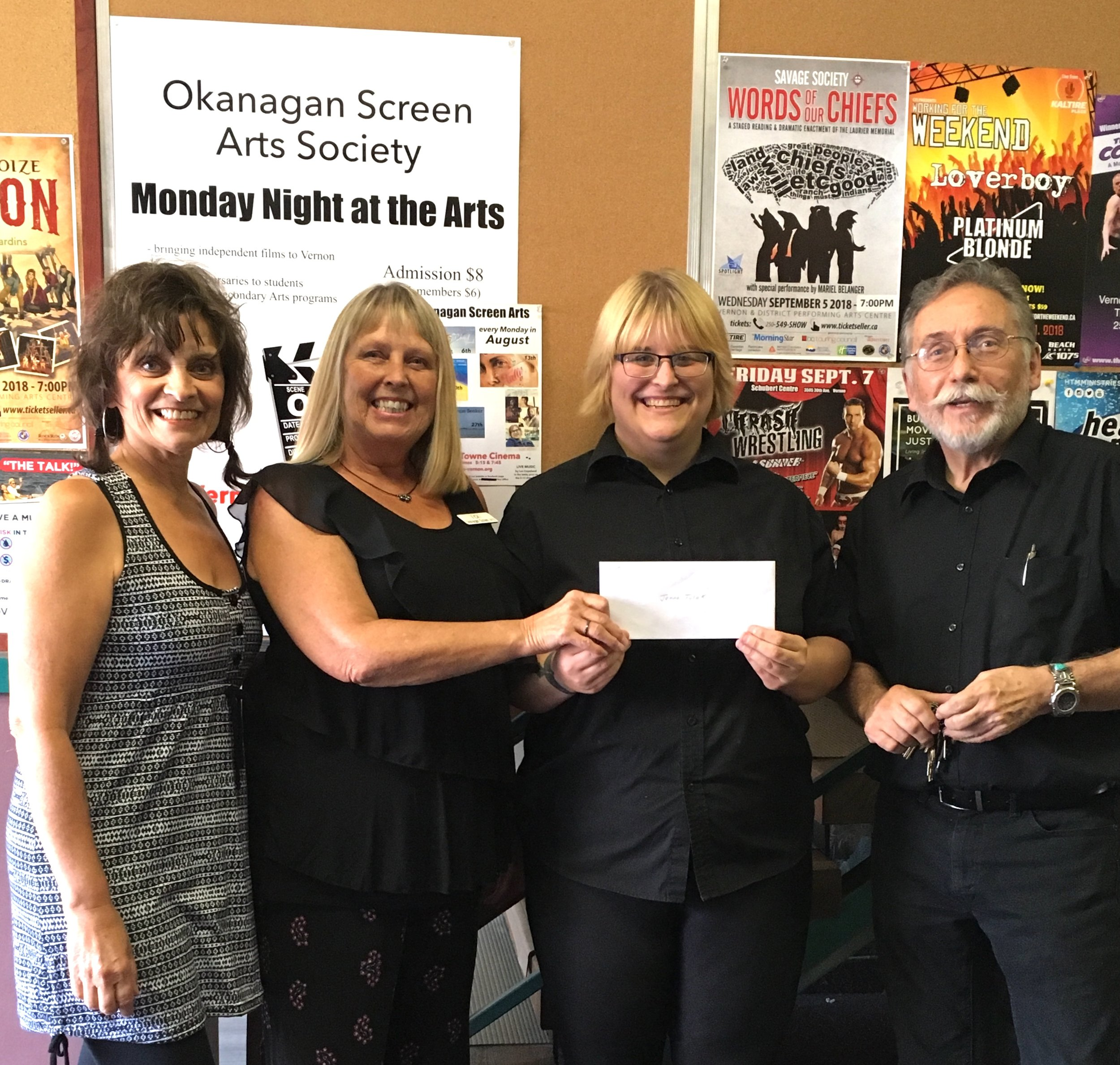 From Left: OSA Reps Sally Evans and Vicki Porter, recipient Jenna Tulak, and Gerry Sellers (Towne Cinema)