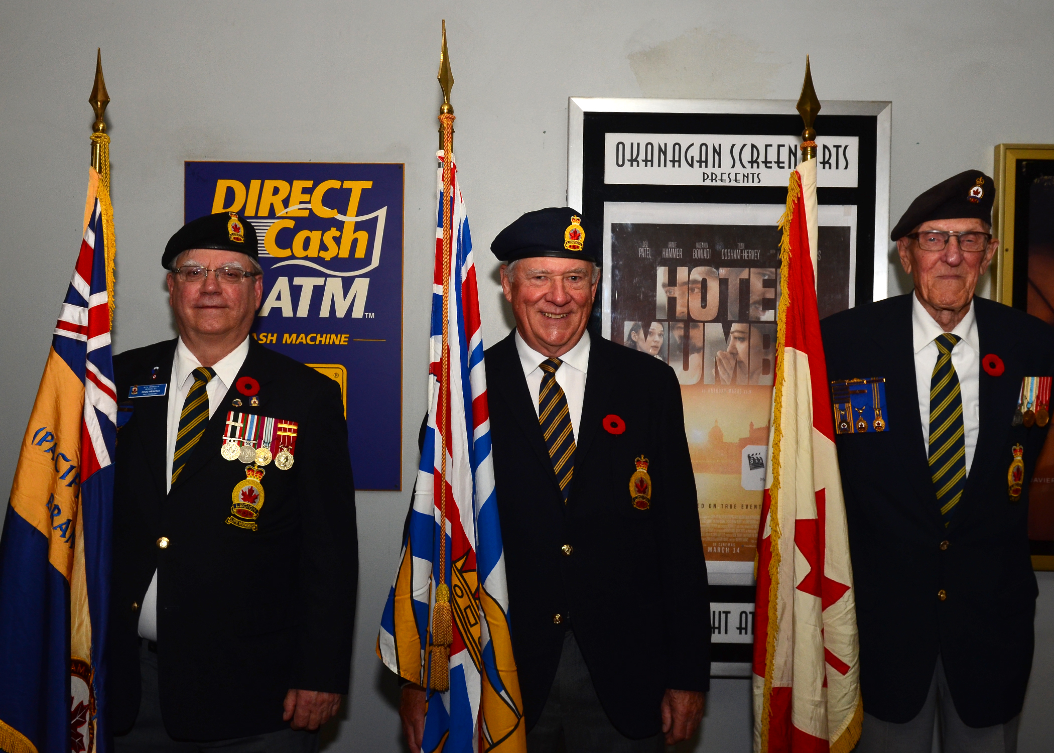 Royal Canadian Legion Vernon Branch Honour Guard in the Towne Cinema Lobby