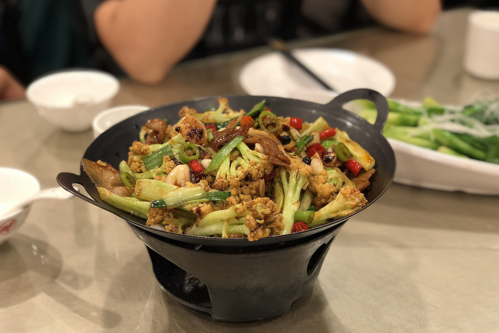 One of my new loves on this trip - Chinese cauliflower w/ hot peppers, fried pork belly, and  a lot  of garlic