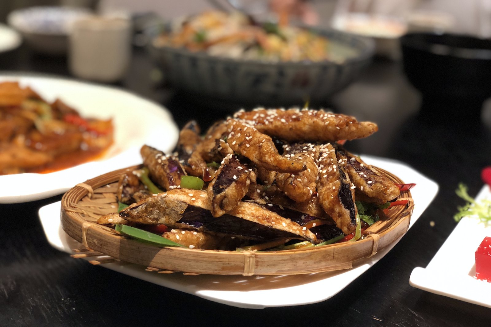 This battered and fried yuxiang eggplant looked like fried fish and was insanely delicious