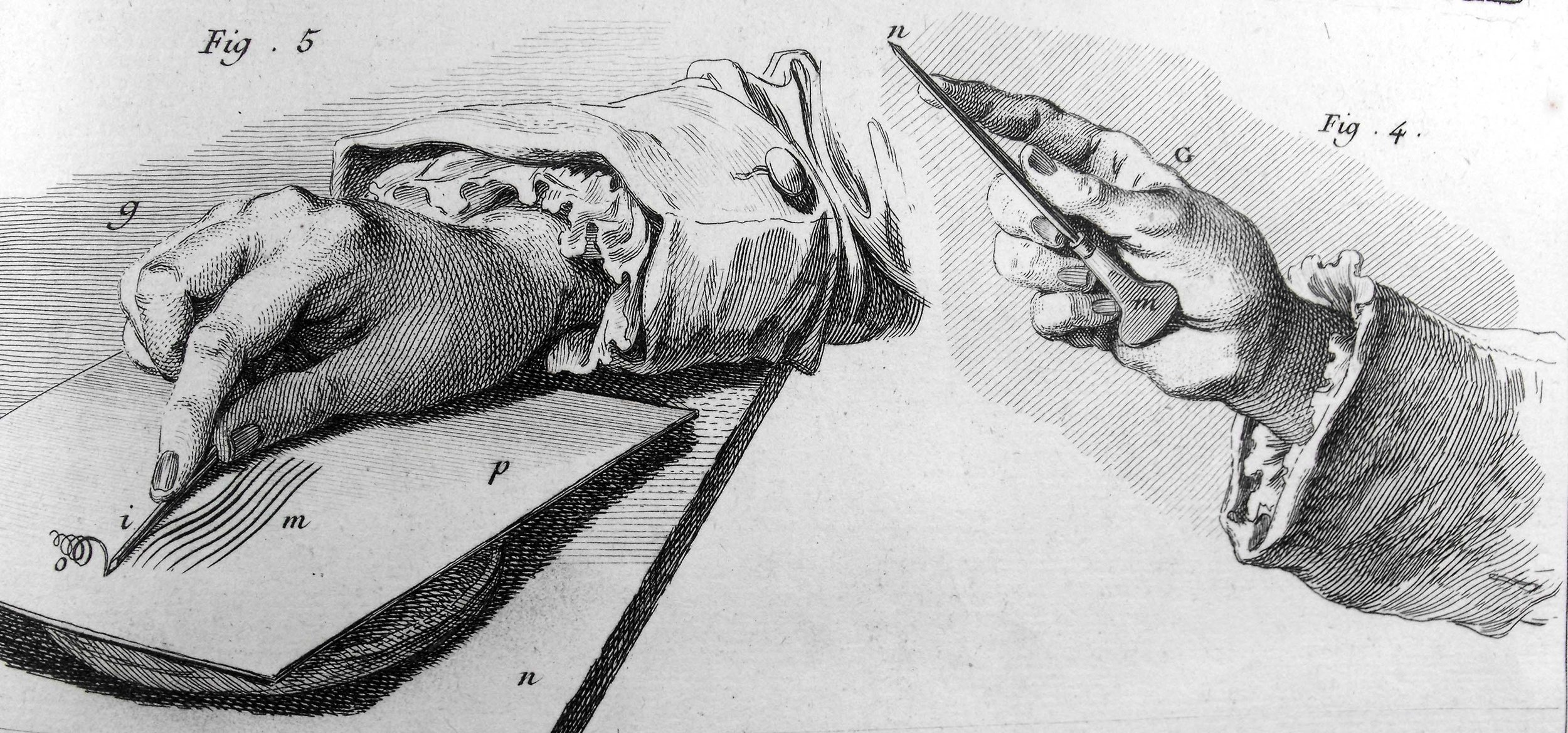 Fig. 5 Illustration of a burin incising a copper plate. Fig 4. Illustration of the correct grip on burin.