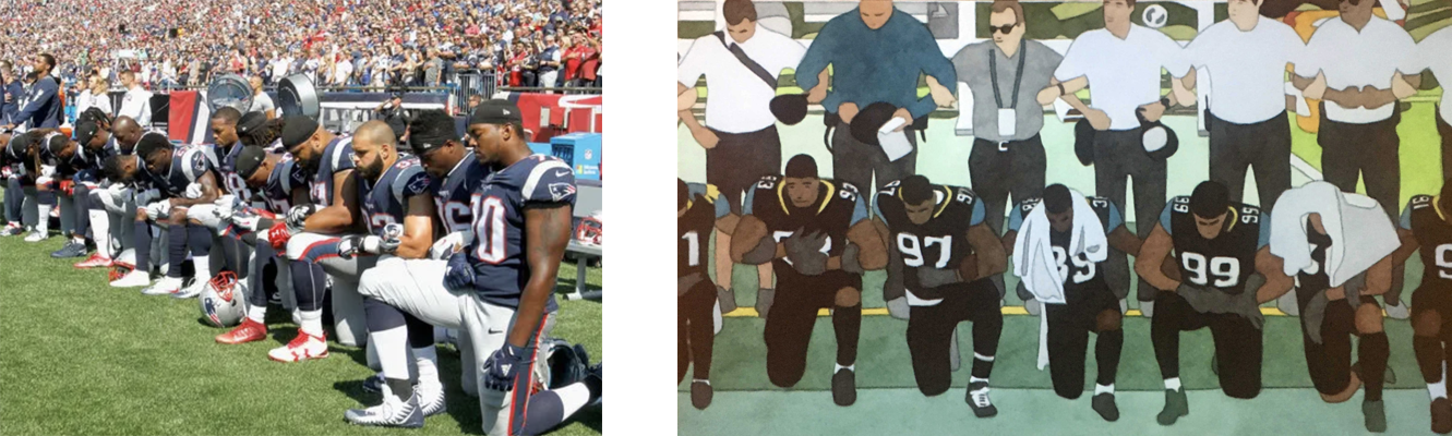 "Members of the New England Patriots kneeling during the national anthem before a game against the Houston Texans last season & the water-color animation by Kota Ezawa: ""National Anthem"" 2019"
