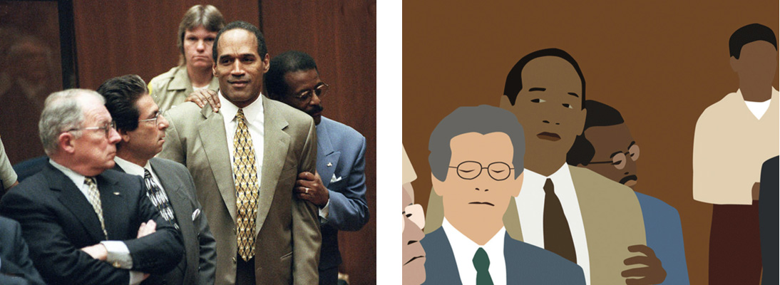 "Video footage of the O.J. Simpson trial verdict in 1995 & Kota Ezawa: ""The Simpson Verdict"" (2002)"