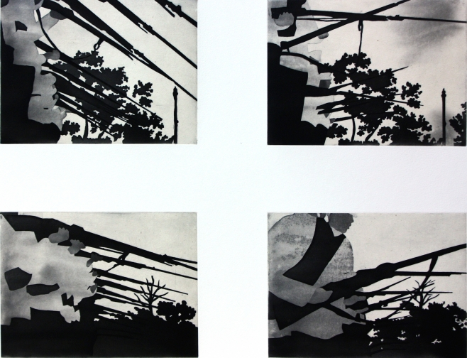 "SOLDIERS, 2009 . Black and white spitbite aquatint with chine colle , 24"" x 27 1⁄2"",  Edition 35"