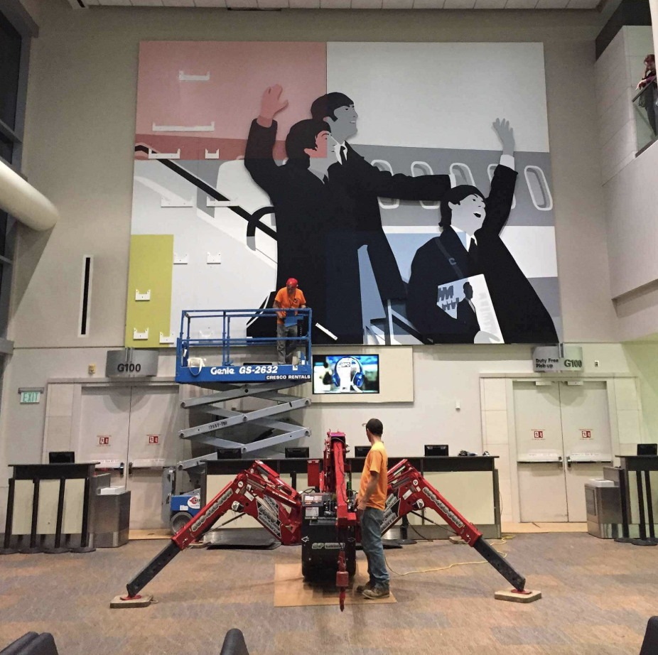 Installation of Kota Ezawa's: The Beatles meet Mondriane,  San Francisco International Airport, 2017