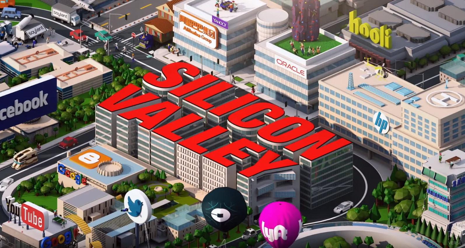 Season 4 - New startups: Airbnb, Dropbox, LinkedIn, Nest, Paypal, Pinterest, Reddit, Slack, Samsung, Snapchat, Theranos, Twitch, Vine, YelpHidden jokes: Amazon drone delivering a pizza, Uber & Lyft fighting, Soylant port-a-potties, FBI outside Theranos and Twitter's golden parachutes.