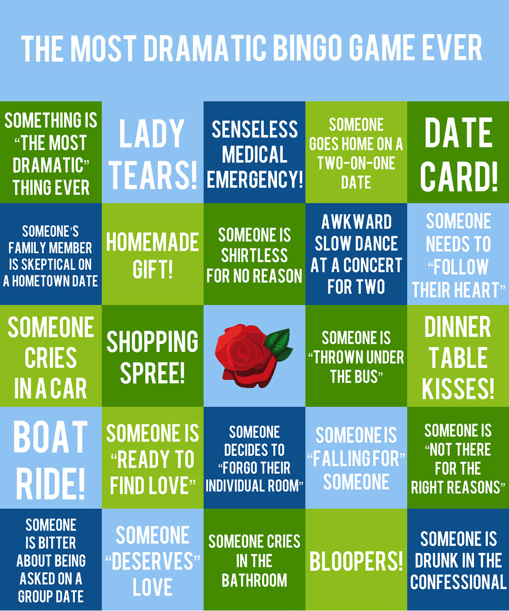 Bingo Card #2 - If you can't wait for the moment when someone is thrown under the bus, is bitter about being asked on a group date, or is not there for the right reasons, this card is for you!