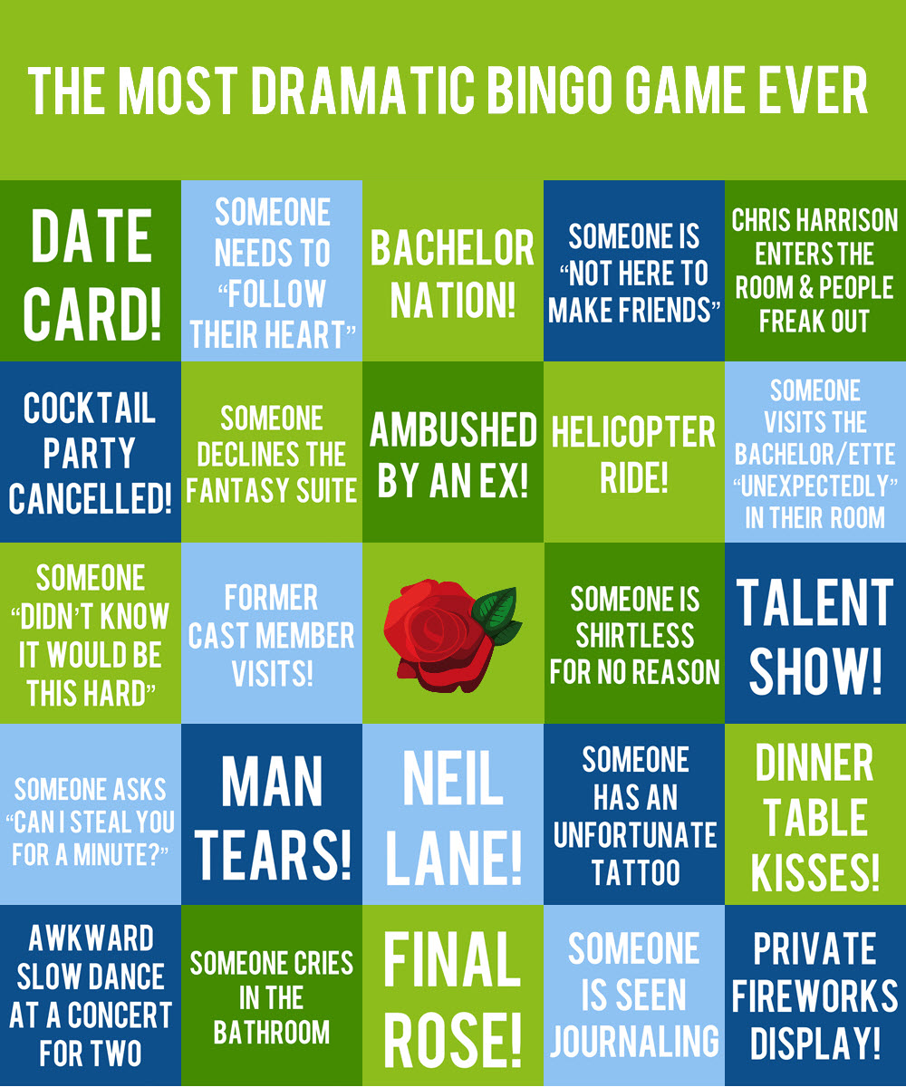 Bingo Card #3 - If you swoon for dates with private fireworks displays, when there is an awkward slow dance at a concert for two, or where there is kissing at the dinner table, this card is for you!
