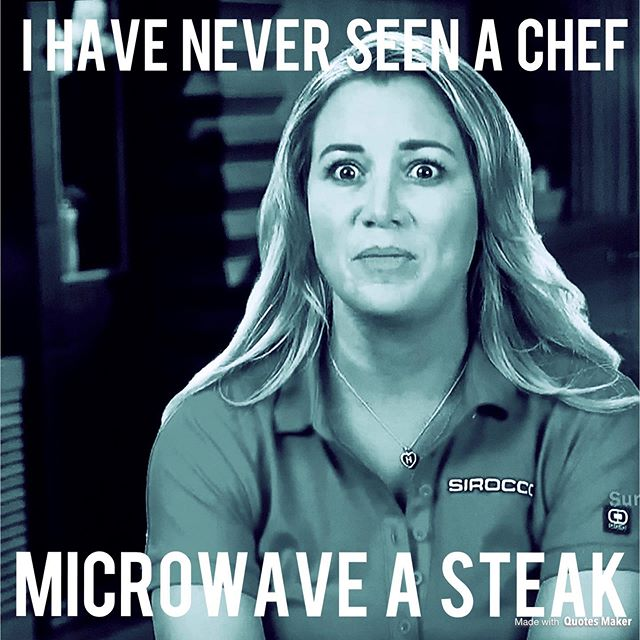 This kinda makes me miss Chef Leon & his never ending buffet of beef cheeks. . . . #ding #cordonbleu #microwavechef #steakdinner #belowdeck #belowdeckmed #hannahferrier #chefmila #chefleon #beefcheeks #privateyacht #captainsandy #sirocco #frenchriviera #yachtlife #bravotv #bravoholic #realitytv #jenlovestv