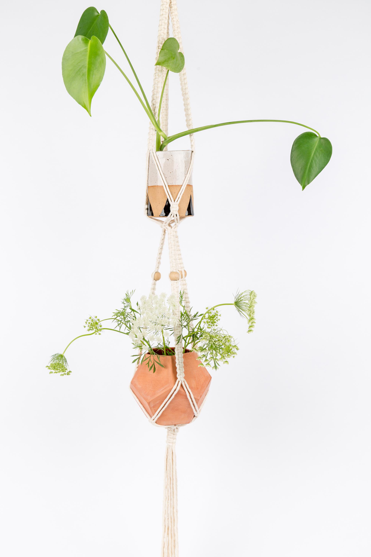 'Classic' Natural Macramé Double Plant Hanger (1).jpg