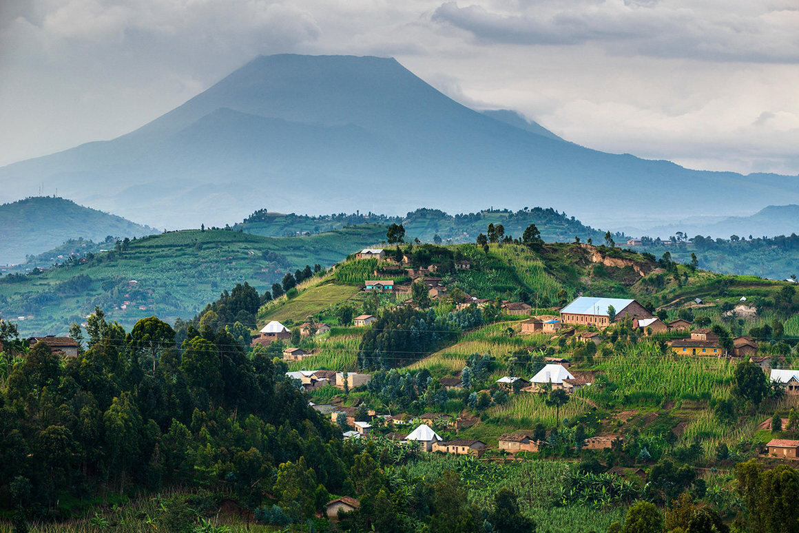 The Virunga Massif—one of two natural habitats for the world's mountain gorillas—is a chain of volcanoes that spans Rwanda, Uganda, and the Democratic Republic of the Congo. NOVARC IMAGES / ALAMY