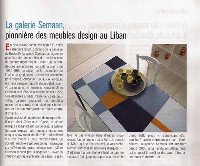 Article in  Commerce du Levant  - May 2011