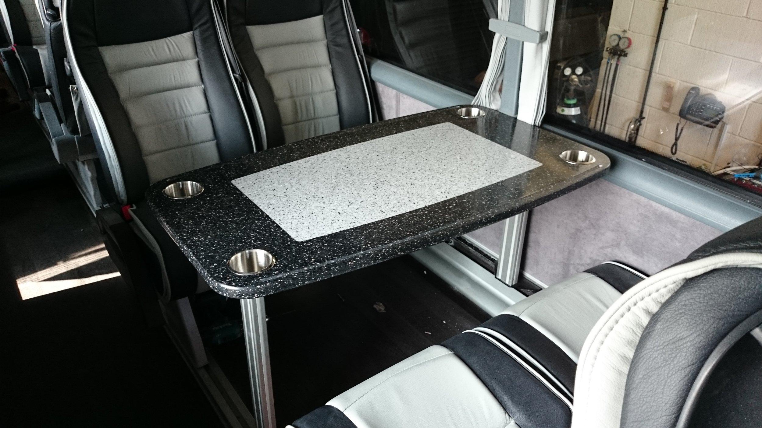 Dual colour corain table