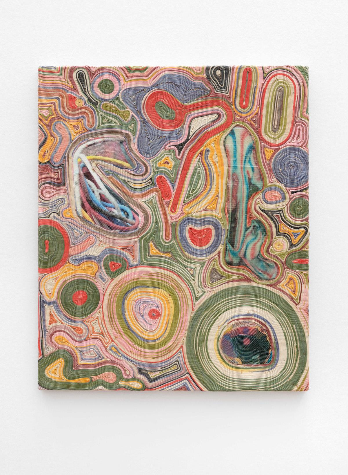 Markus Oehlen, ohne Titel, 2018  Acryl, Papier, Kordel auf Holz  120 x 100 x 5 cm  Foto. Wolfgang Günzel