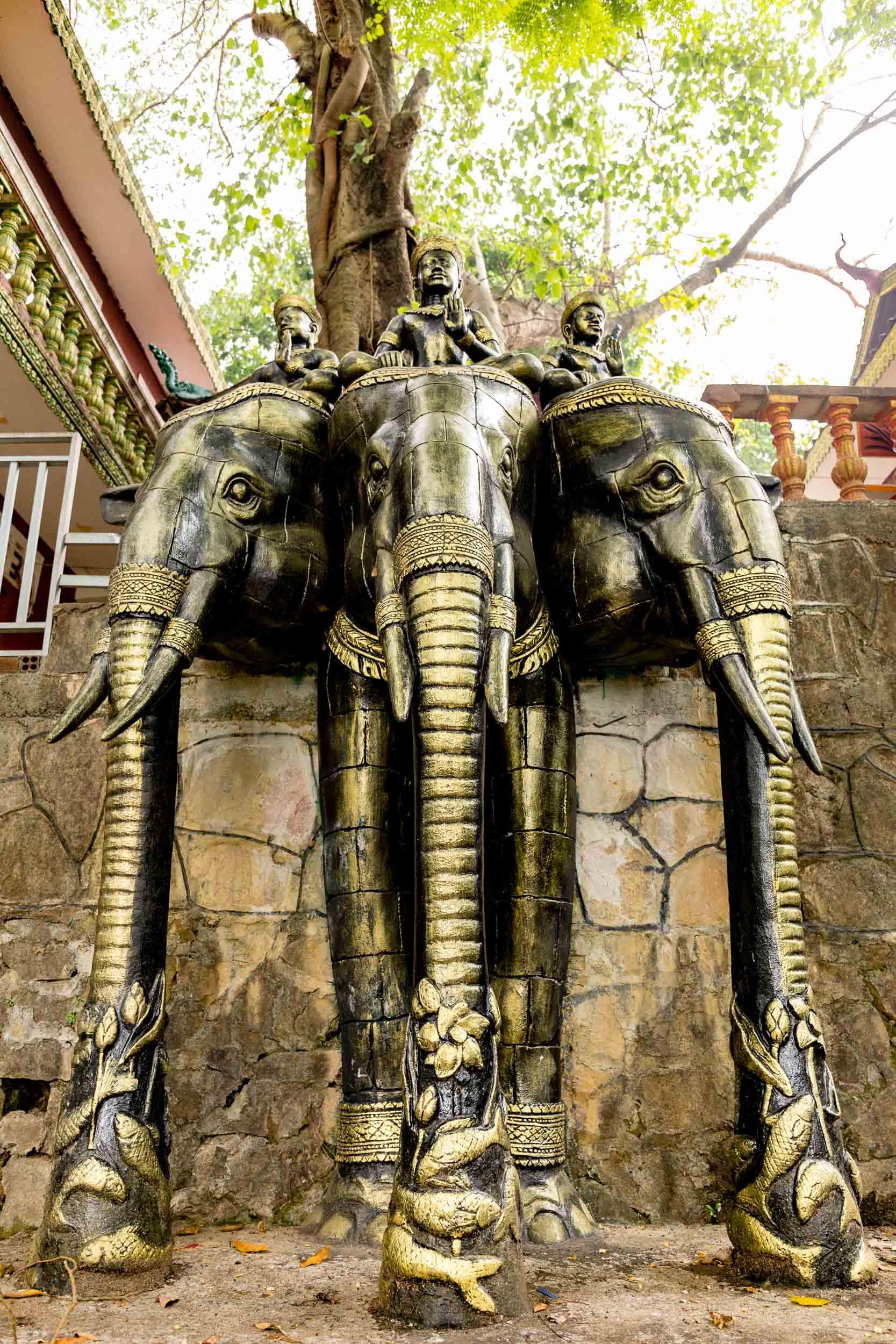 Triple Elephant statue at Buddha Temple - Sihanoukville, Cambodia - Rupert Turkington Travel Photography