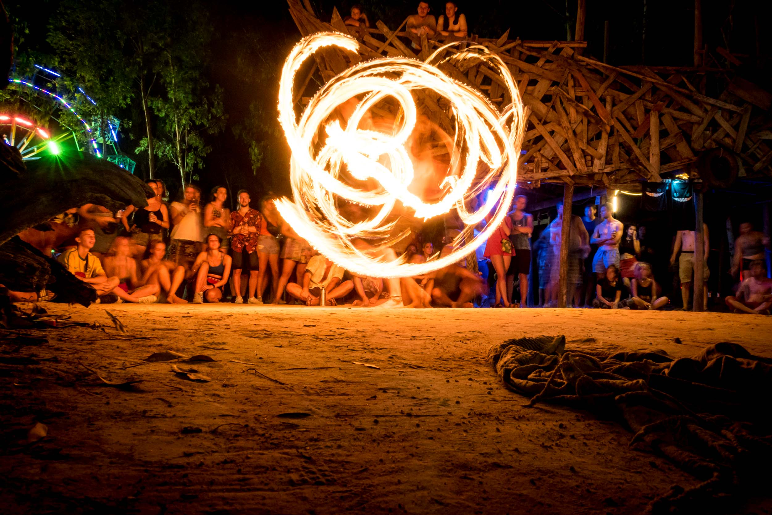 Fire Dance at Kerfuffle, Otres Village, Sihanoukville, Cambodia.