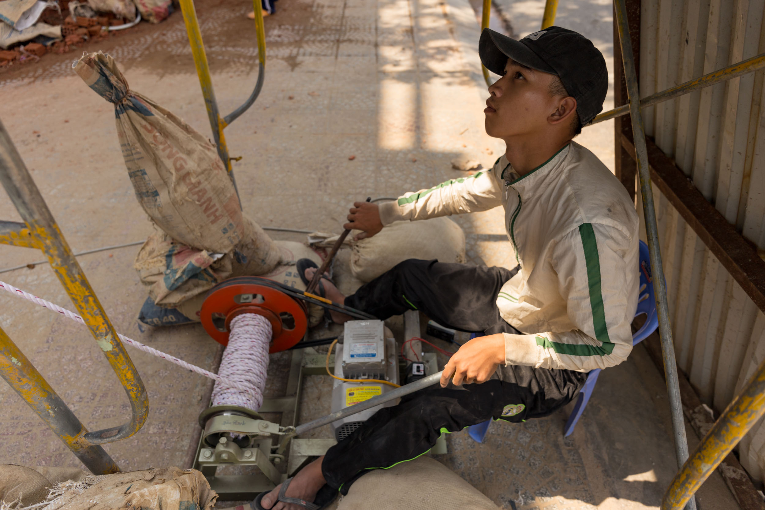 Vietnamese Youth Worker on Construction Site, Da Nang.