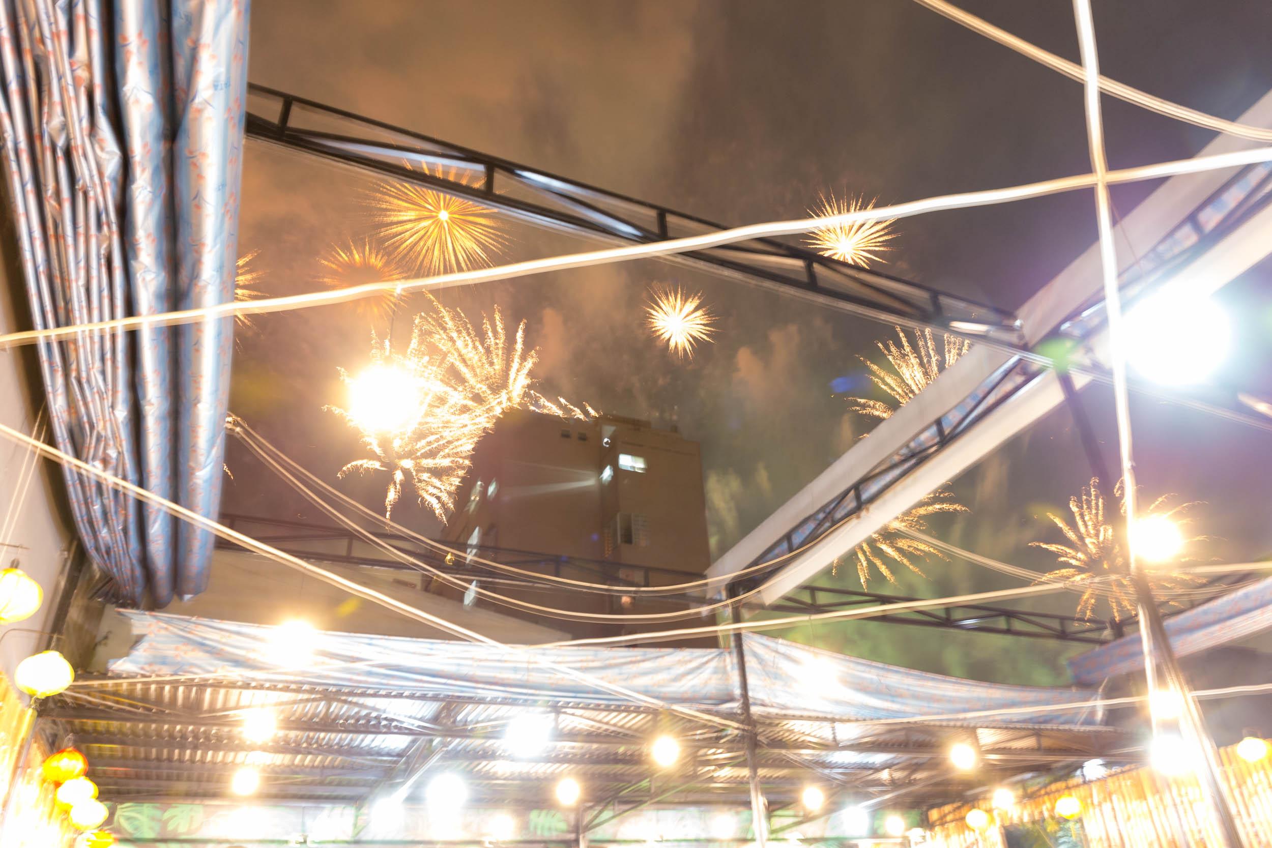 Fireworks in Da Nang City Centre. Vietnam