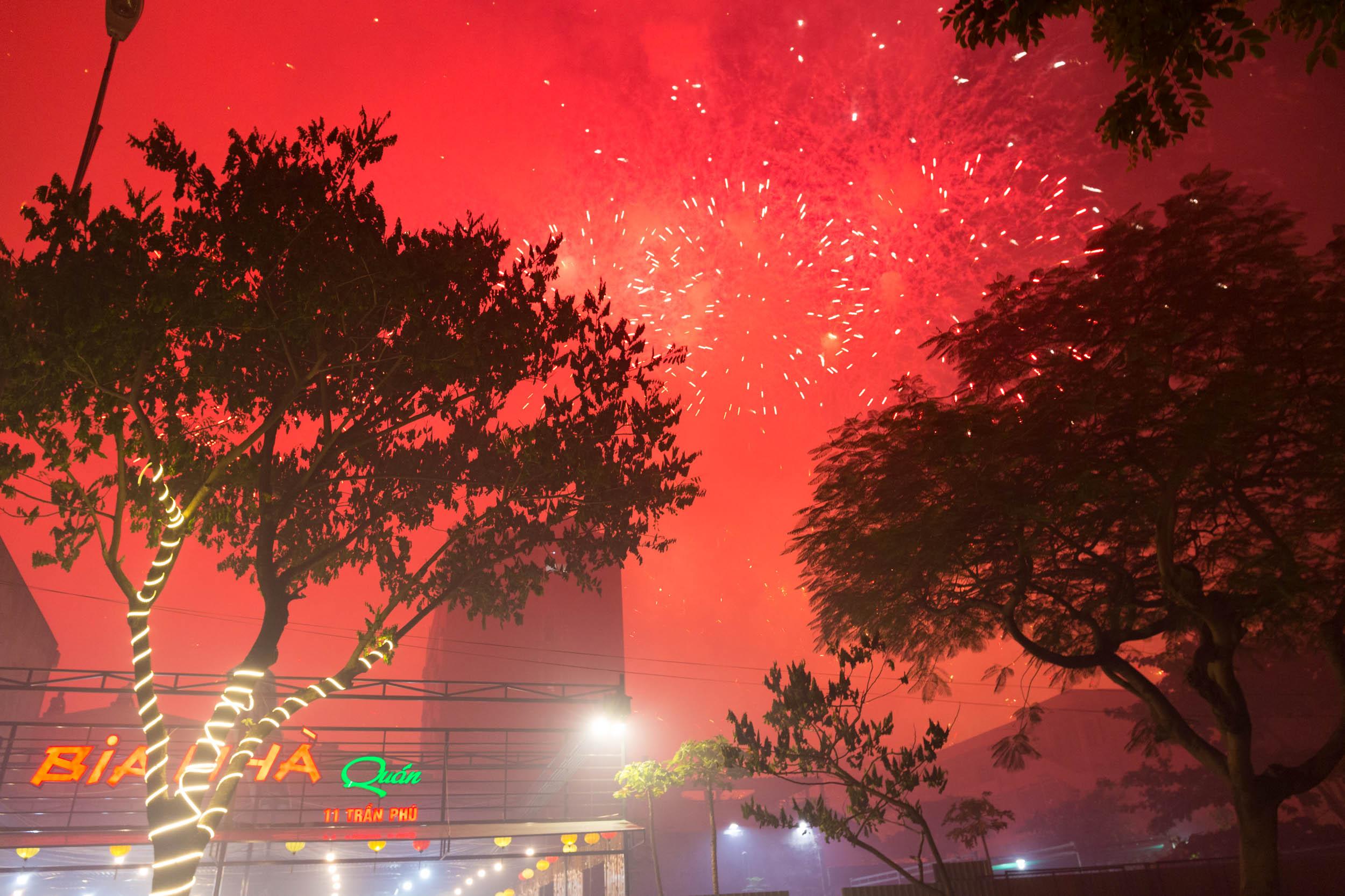 Fireworks going off in Da Nang Vietnam.