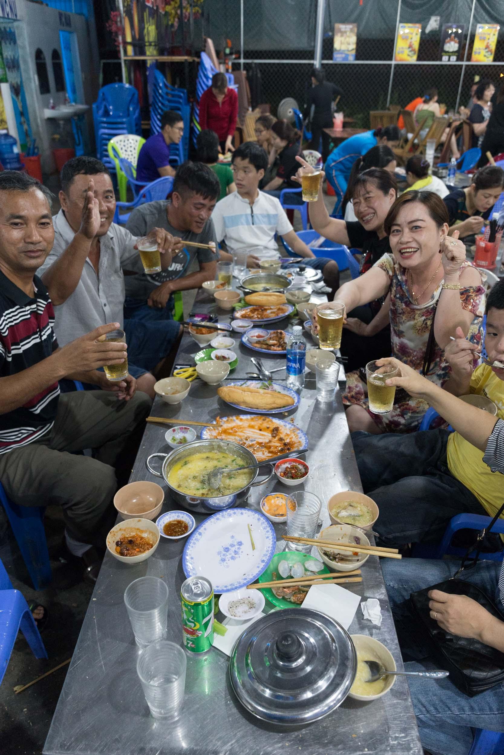 A Family dining at Hải sản Bà Rô, Seafood Restaurant Da Nang, Vietnam.