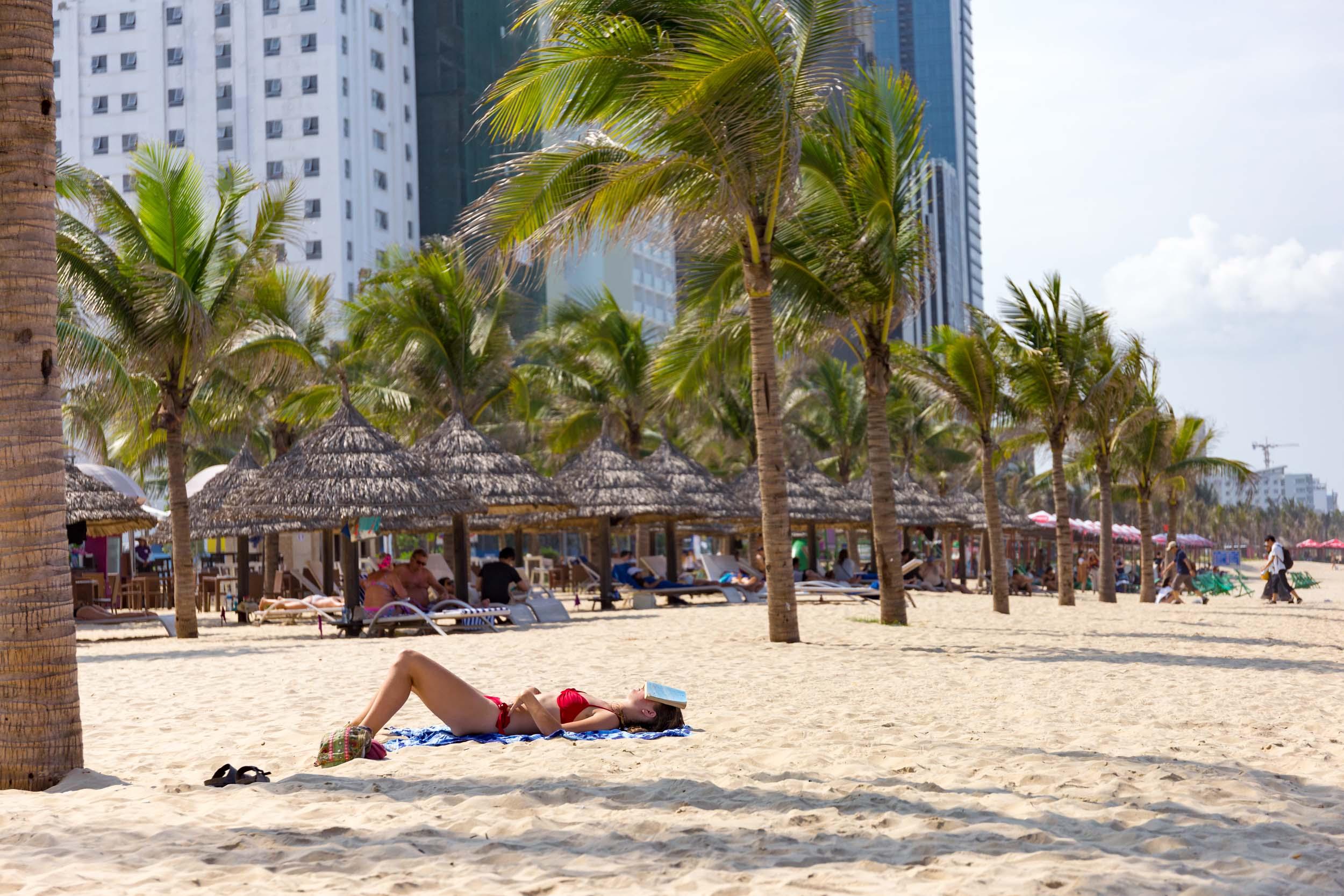 Sunbathing on Da Nang's Beach Front.